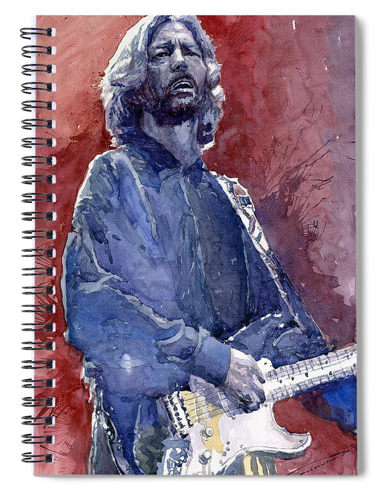 Watercolor Spiral Notebook featuring the painting Eric Clapton 04 by Yuriy Shevchuk