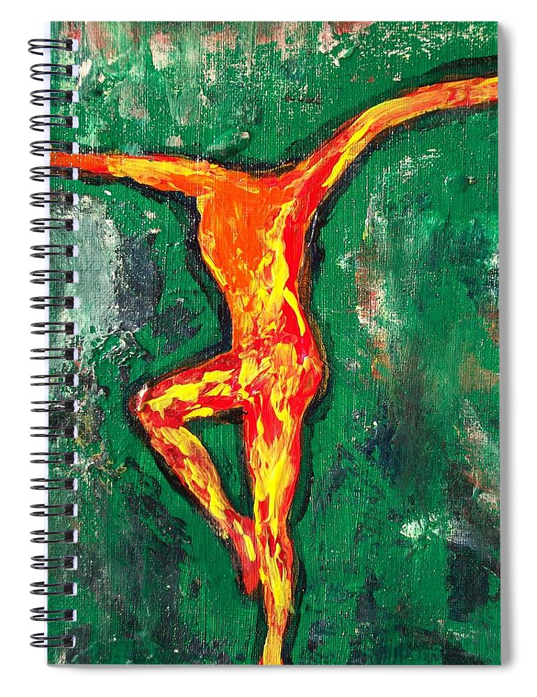 Fire Spiral Notebook featuring the painting Erin by Laurette Escobar