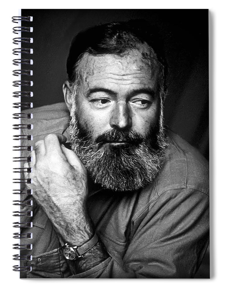 Hemingway Spiral Notebook featuring the photograph Ernest Hemingway 1944 by Daniel Hagerman