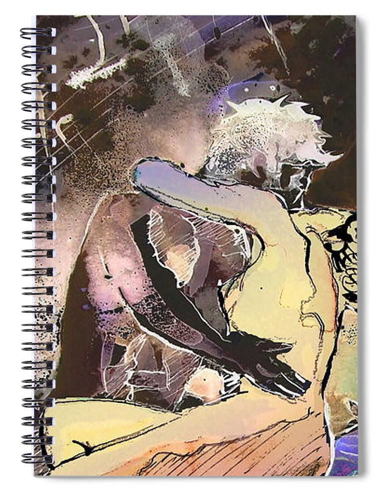 Miki Spiral Notebook featuring the painting Eroscape 09 2 by Miki De Goodaboom