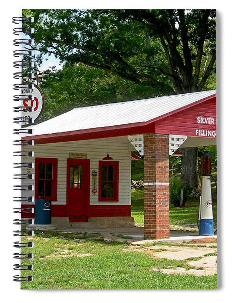 Esso Filling Station Spiral Notebook featuring the photograph Esso Station by Greg Joens