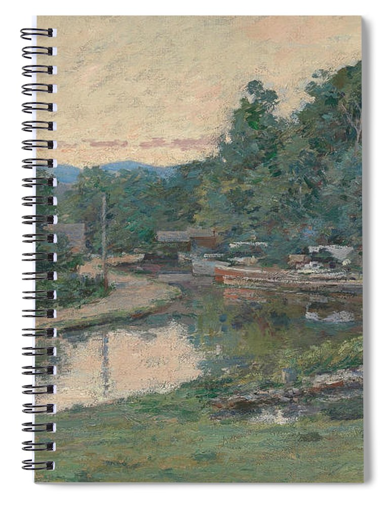Theodore Robinson Spiral Notebook featuring the painting Evening At The Lock, Napanoch, New York by Theodore Robinson