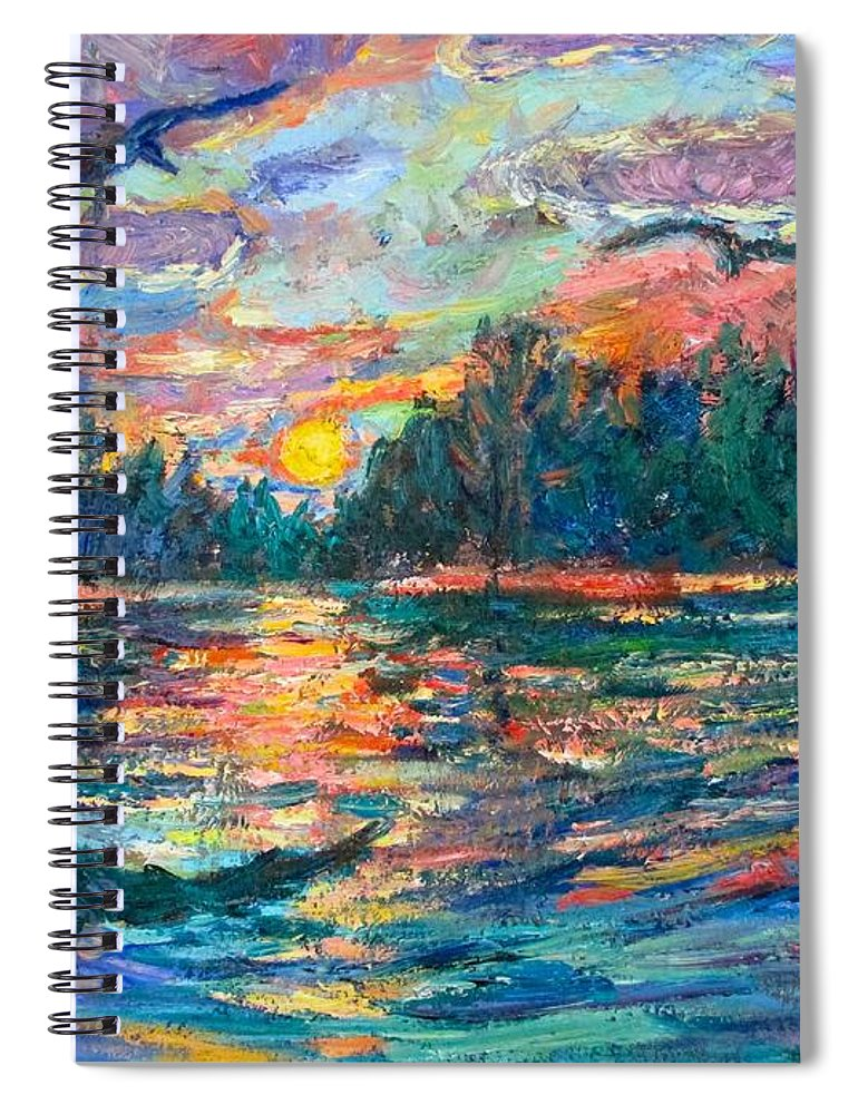 Landscape Spiral Notebook featuring the painting Evening Flight by Kendall Kessler
