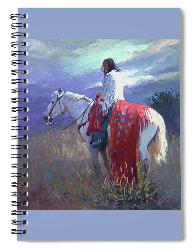 Native American Spiral Notebook featuring the digital art Evening Solitude L. E. P. by Betty Jean Billups