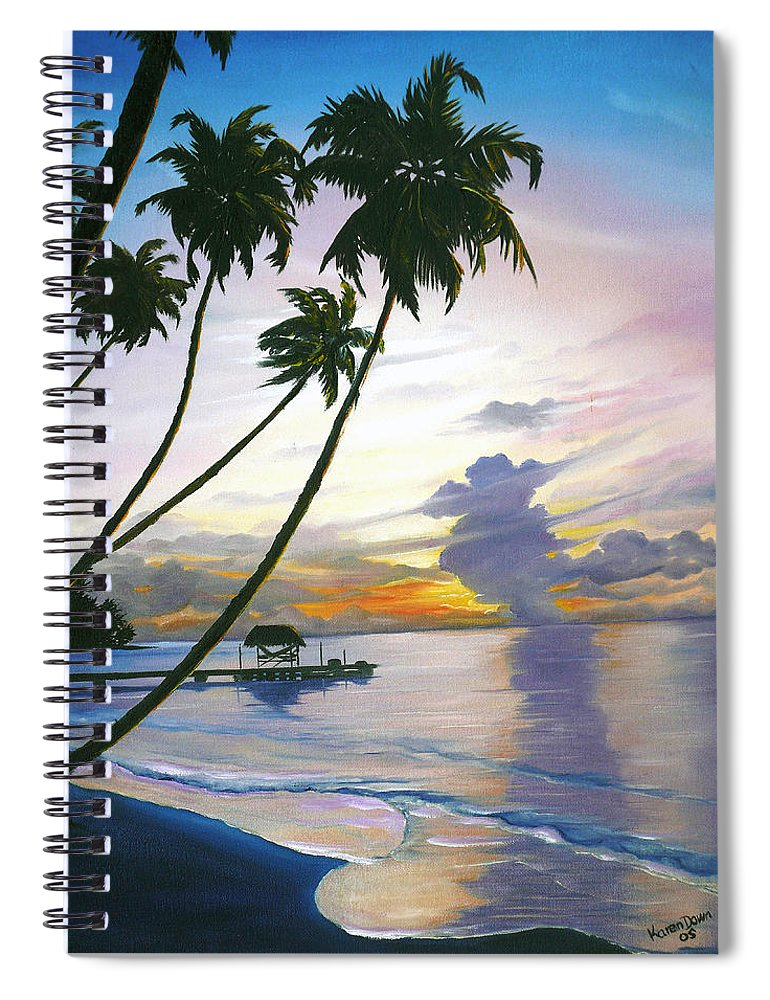 Ocean Painting Seascape Painting Beach Painting Sunset Painting Tropical Painting Tropical Painting Palm Tree Painting Tobago Painting Caribbean Painting Original Oil Of The Sun Setting Over Pigeon Point Tobago Spiral Notebook featuring the painting Eventide Tobago by Karin Dawn Kelshall- Best