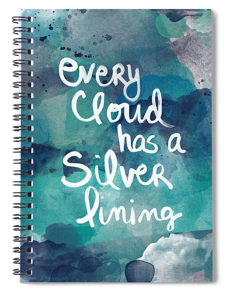 Cloud Spiral Notebook featuring the painting Every Cloud by Linda Woods