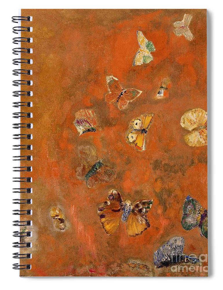 Evocation Spiral Notebook featuring the painting Evocation of Butterflies by Odilon Redon