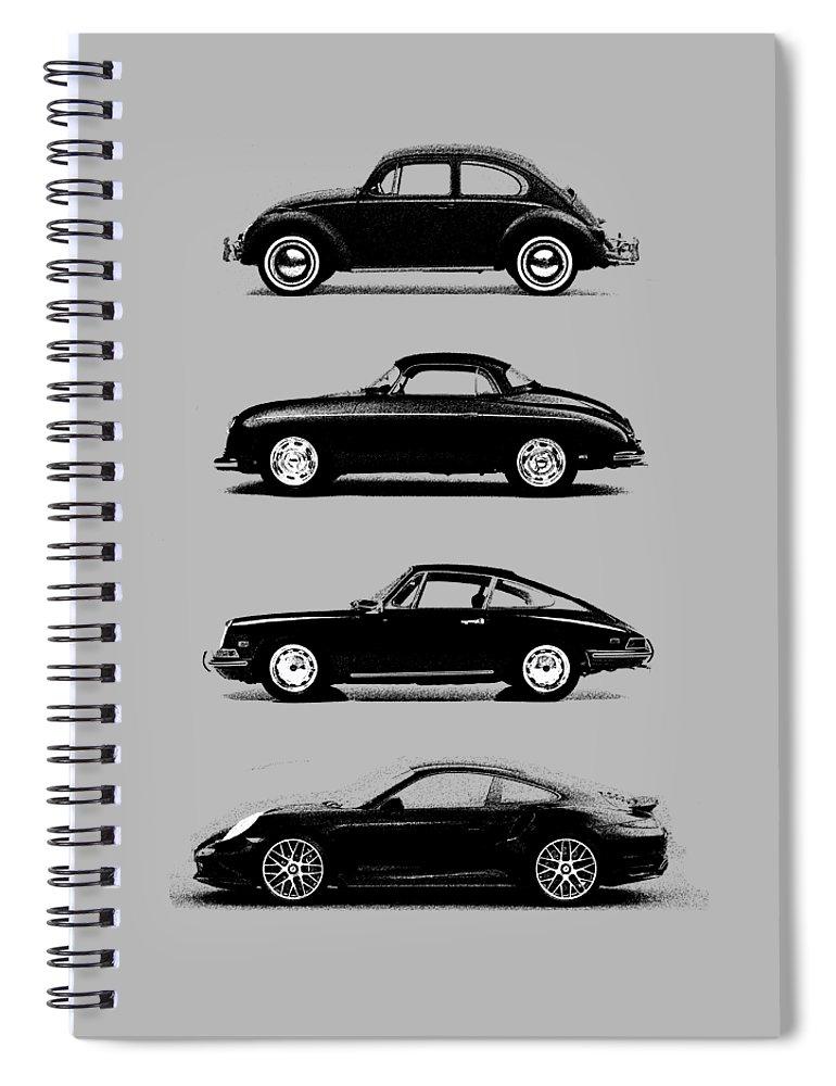 Porsche Spiral Notebook featuring the photograph Evolution by Mark Rogan