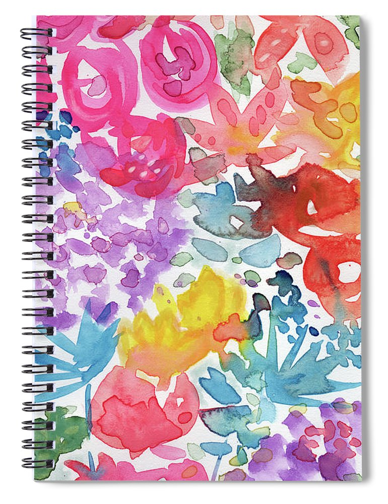 Flowers Spiral Notebook featuring the mixed media Expressionist Watercolor Garden- Art By Linda Woods by Linda Woods