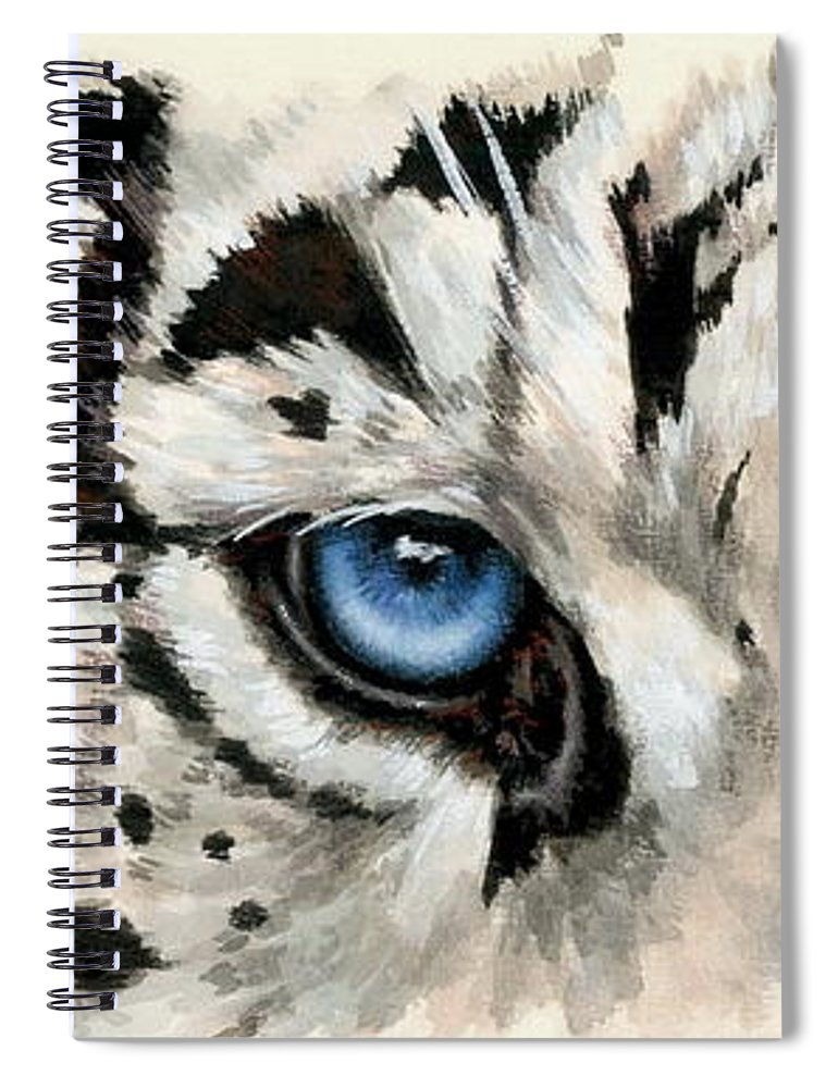 Big Cat Spiral Notebook featuring the painting Royal White Tiger Gaze by Barbara Keith