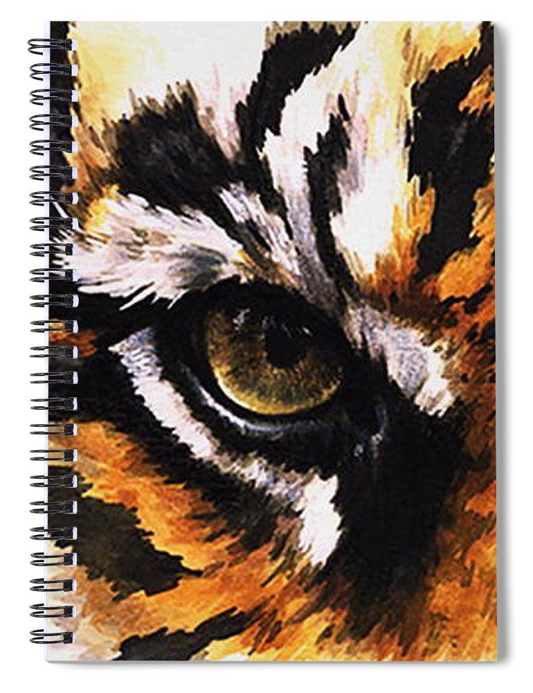 Feline Spiral Notebook featuring the mixed media Sumatran Tiger Glare by Barbara Keith