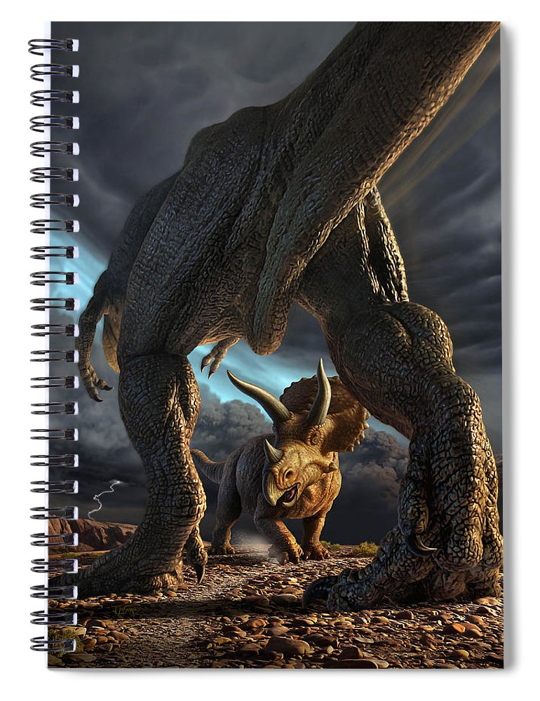 Dinosaur Spiral Notebook featuring the digital art Face Off by Jerry LoFaro