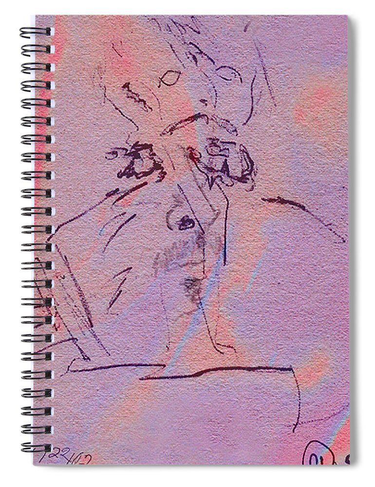 Abstract Spiral Notebook featuring the mixed media Faces Of Trivia by Steve Karol