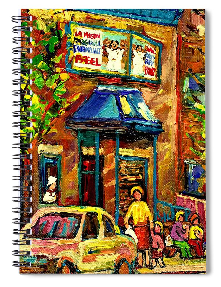 Fairmount Bagel Spiral Notebook featuring the painting Fairmount Bagel In Montreal by Carole Spandau