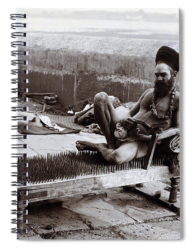 Fakir Sitting On Bed Of Nails India Spiral Notebook For Sale By