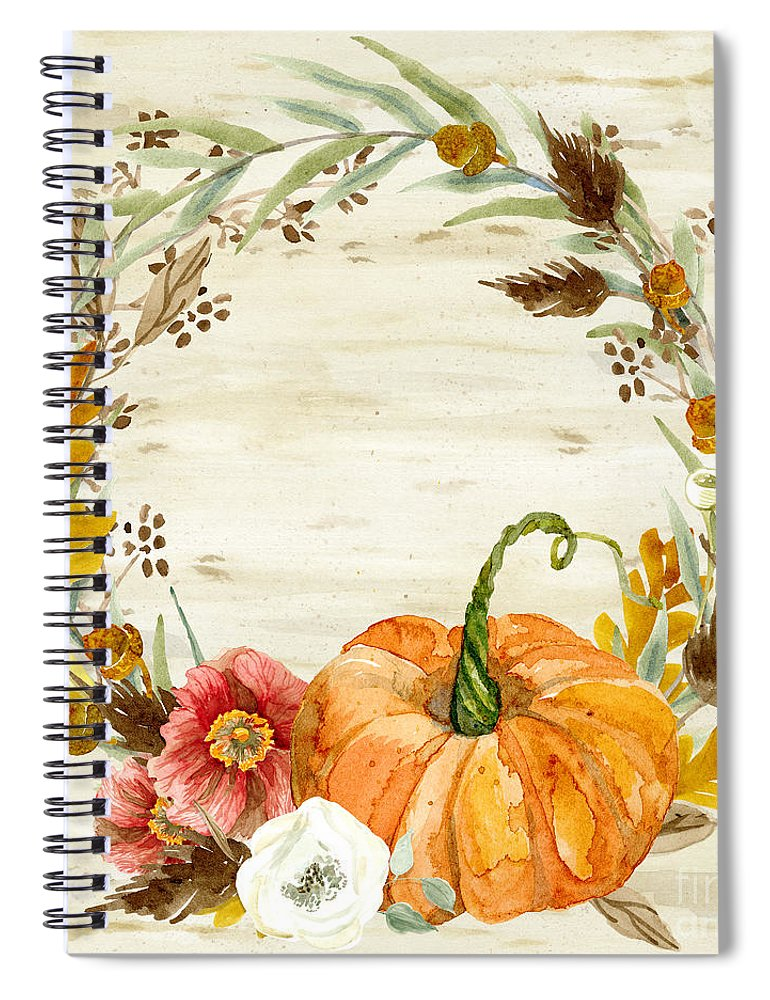 Autumn Spiral Notebook featuring the painting Fall Autumn Harvest Wreath On Birch Bark Watercolor by Audrey Jeanne Roberts