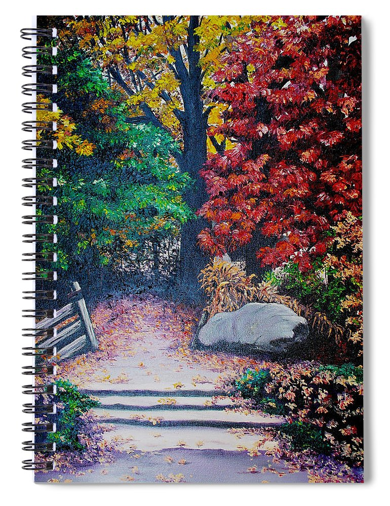 A N Original Painting Of An Autumn Scene In The Gateneau In Quebec Spiral Notebook featuring the painting Fall In Quebec Canada by Karin Dawn Kelshall- Best