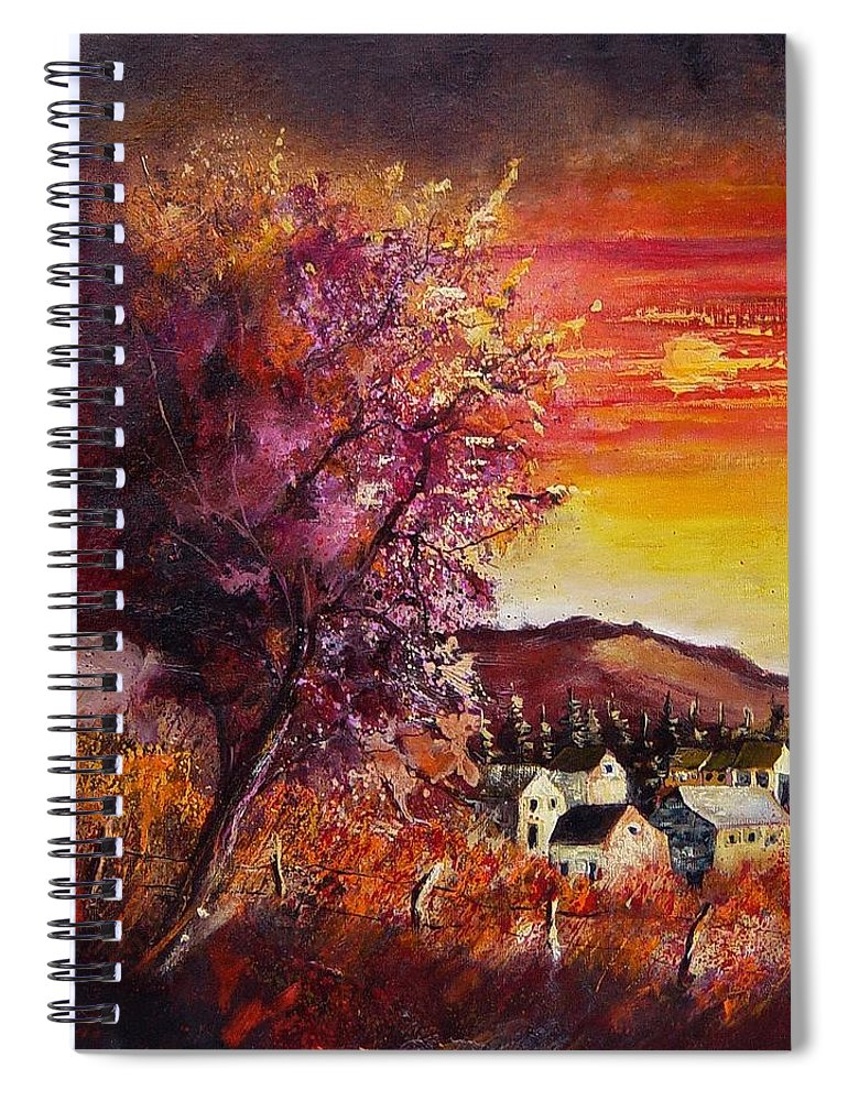 Autumn Spiral Notebook featuring the painting Fall in Villers by Pol Ledent