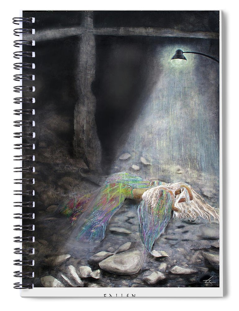 Angel Spiral Notebook featuring the painting Fallen by Larry Rice