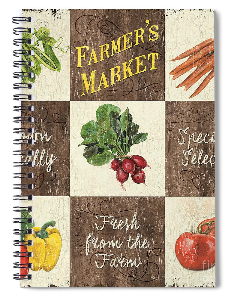 Organic Spiral Notebook featuring the painting Farmer's Market Patch by Debbie DeWitt