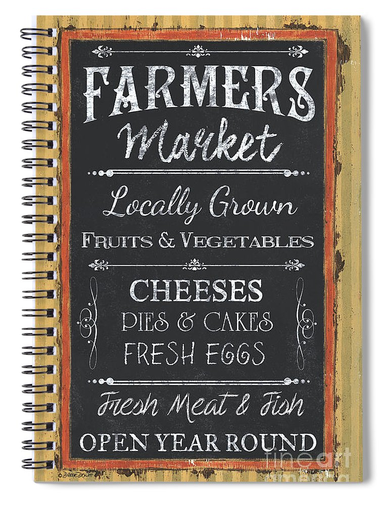 Farm Spiral Notebook featuring the painting Farmer's Market Signs by Debbie DeWitt