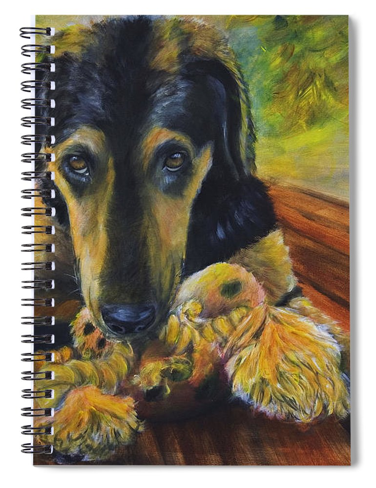 Dog Spiral Notebook featuring the painting Favorite Things by Nik Helbig