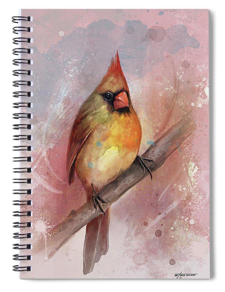 Bird Spiral Notebook featuring the digital art Female Cardinal by Steve Goad