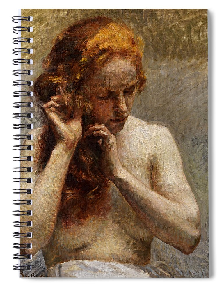 Vlaho Bukovac Spiral Notebook featuring the painting Female Nude with Red Hair by Vlaho Bukovac