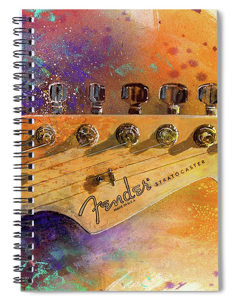 Fender Stratocaster Spiral Notebook featuring the painting Fender Head by Andrew King