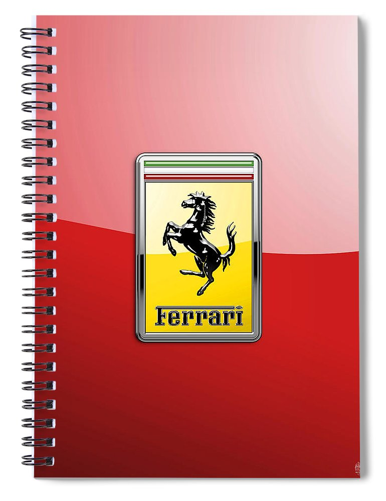 �auto Badges� Collection By Serge Averbukh Spiral Notebook featuring the photograph Ferrari 3D Badge-Hood Ornament on Red by Serge Averbukh