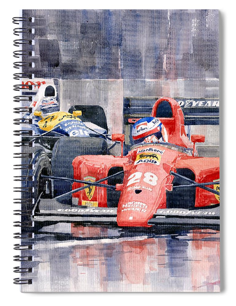 Watercolor Spiral Notebook featuring the painting 1991 Ferrari F1 Jean Alesi Phoenix Us Gp Arizona 1991 by Yuriy Shevchuk
