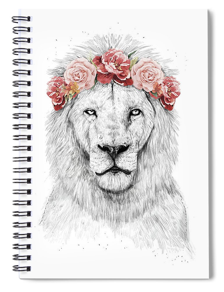 Lion Spiral Notebook featuring the drawing Festival Lion by Balazs Solti