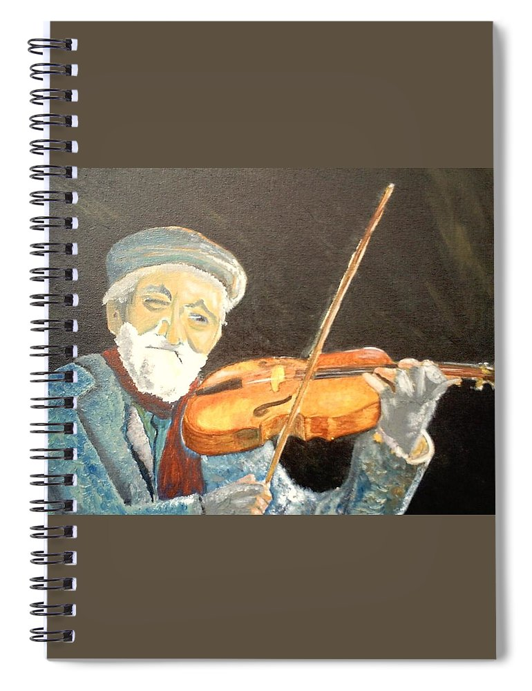 Hungry He Plays For His Supper Spiral Notebook featuring the painting Fiddler Blue by J Bauer