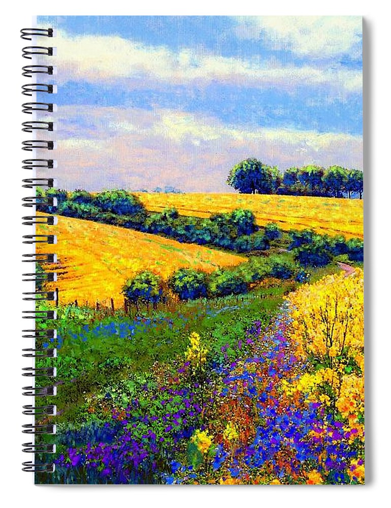 Sun Spiral Notebook featuring the painting Fields Of Gold by Jane Small