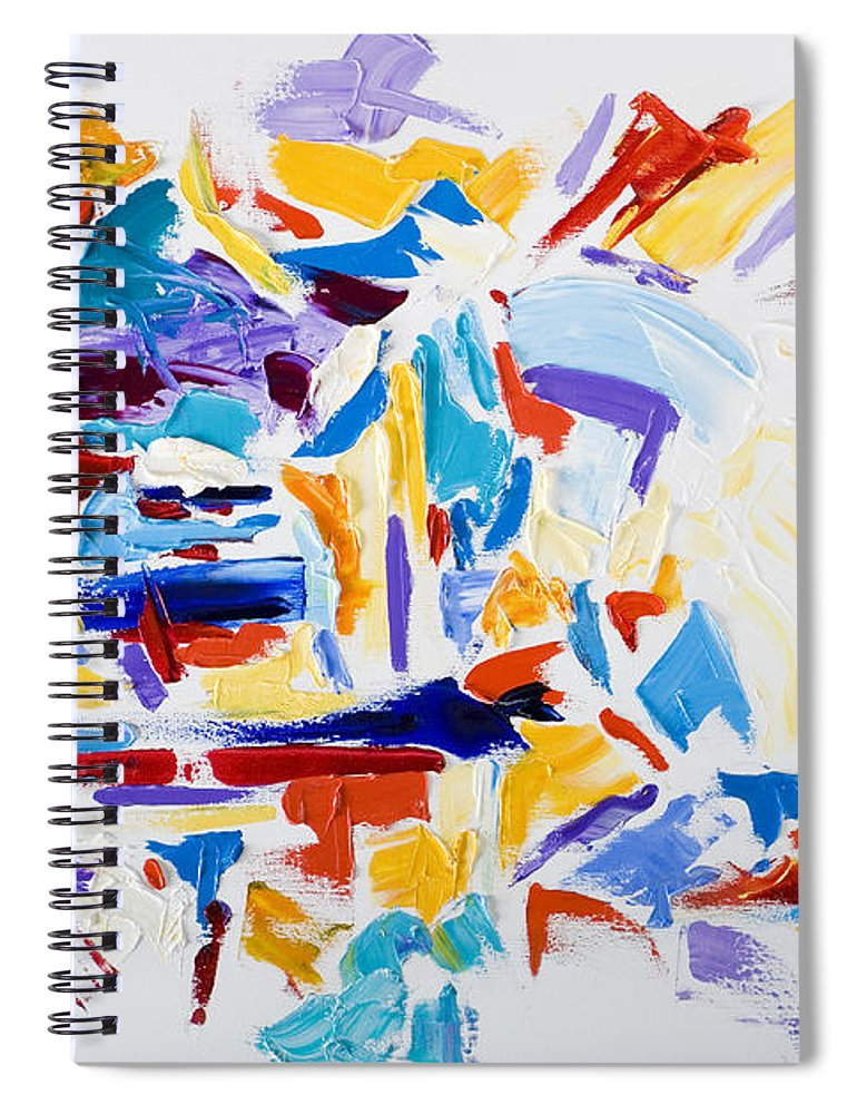 Abstract Yellow Spiral Notebook featuring the painting Fiesta by Shannon Grissom