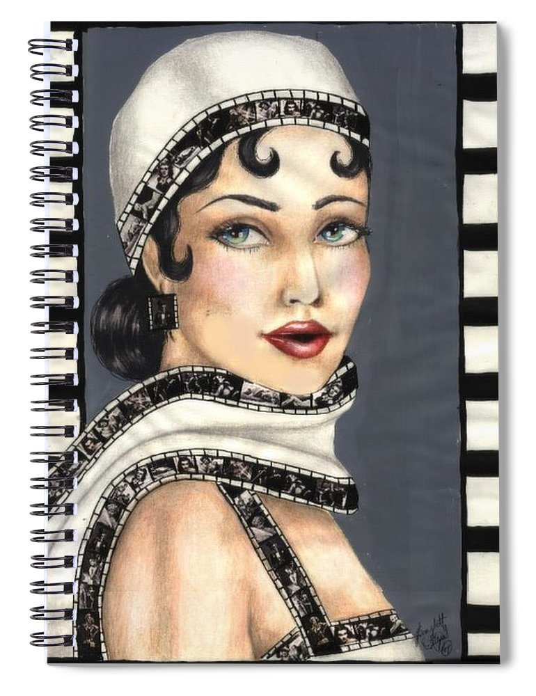 Portrait Spiral Notebook featuring the drawing Film 2 by Scarlett Royal