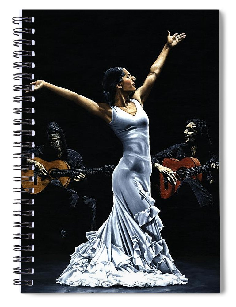 Flamenco Spiral Notebook featuring the painting Finale del Funcionamiento del Flamenco by Richard Young