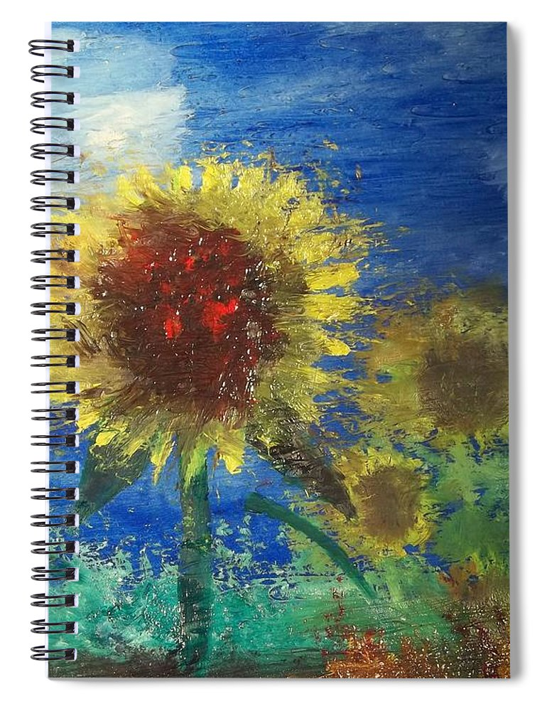 Flowers Spiral Notebook featuring the painting Fire in the Field by J Bauer