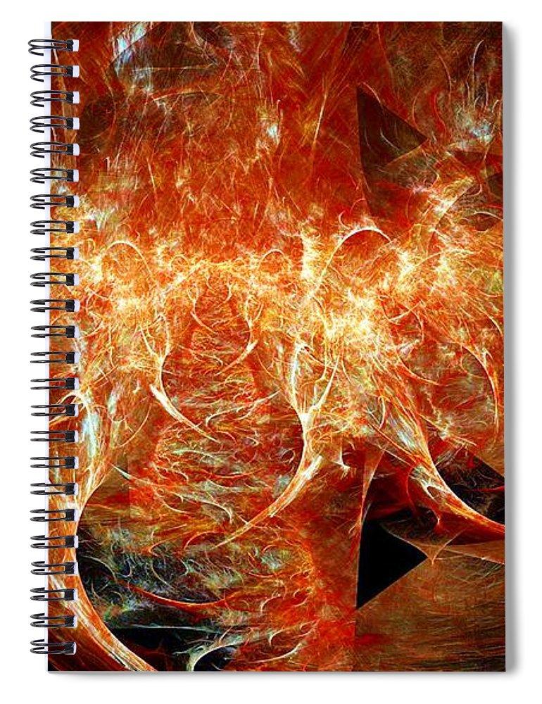 Fractal Spiral Notebook featuring the digital art Fire Storm by Ron Bissett