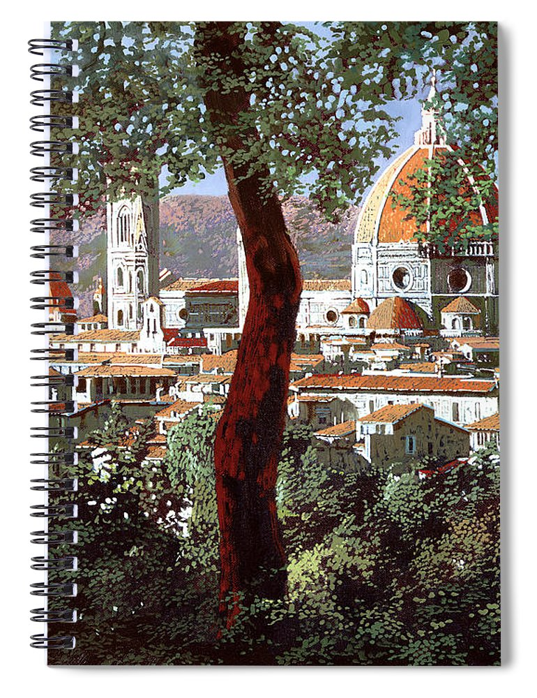 Landscape Spiral Notebook featuring the painting Firenze by Guido Borelli