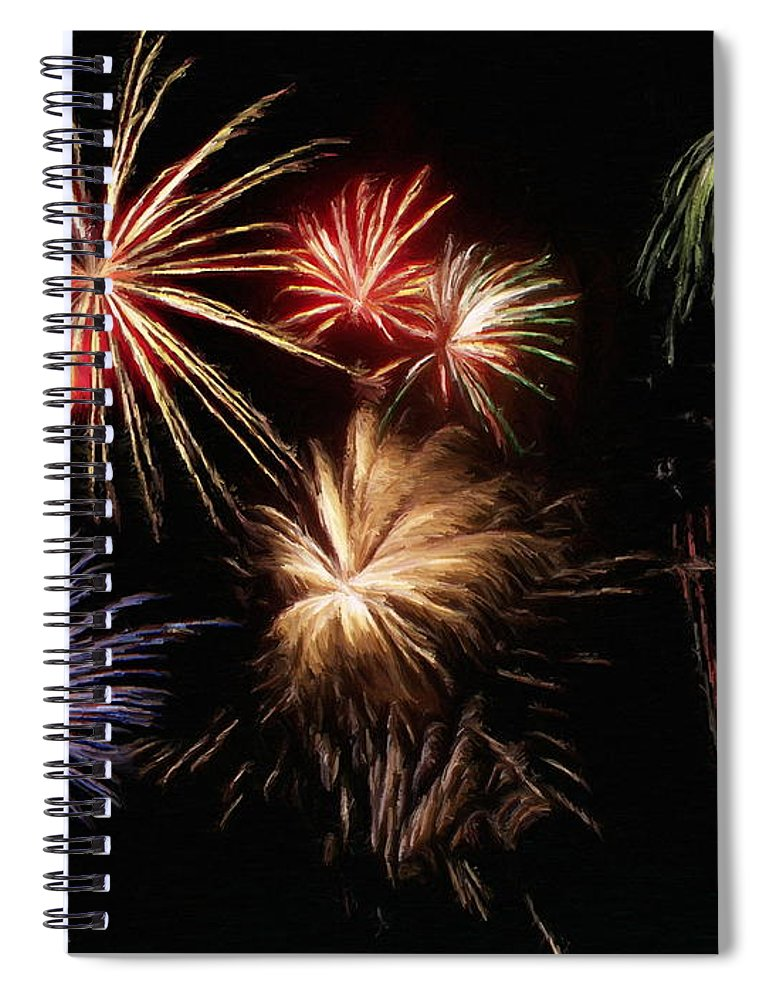 Fireworks Spiral Notebook featuring the painting Fireworks by Jeffrey Kolker