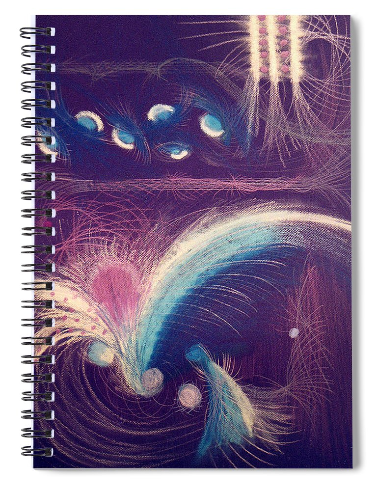 Abstract Spiral Notebook featuring the mixed media Fireworks by Steve Karol