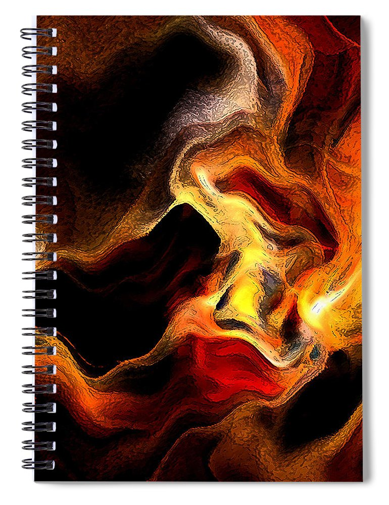 Abstract Spiral Notebook featuring the digital art Firey by Ruth Palmer
