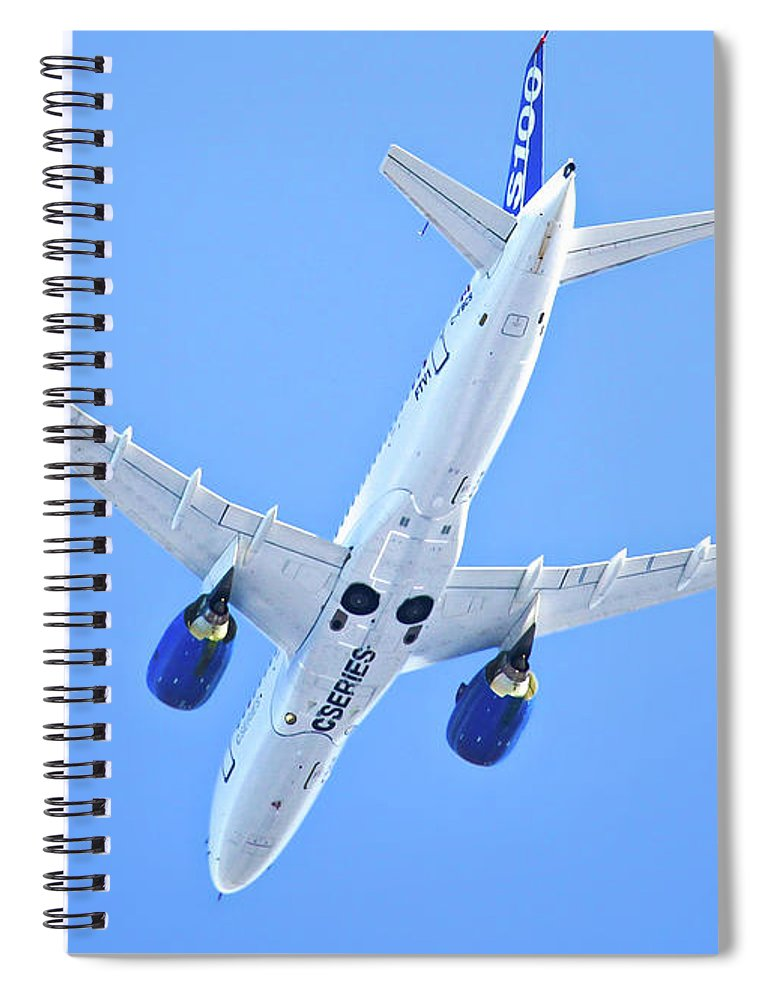 Airbus Spiral Notebook featuring the photograph First Airbus A220 Cseries Aircraft Ftv1 - No Text by Sylvain Faust