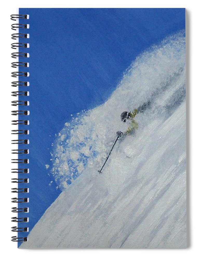 Ski Spiral Notebook featuring the painting First by Michael Cuozzo
