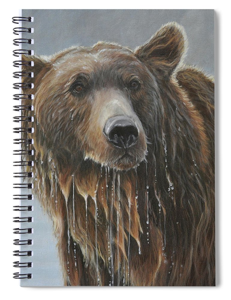 Grizzly Bear Spiral Notebook featuring the painting Fish Story-Up for Air by Tahirih Goffic