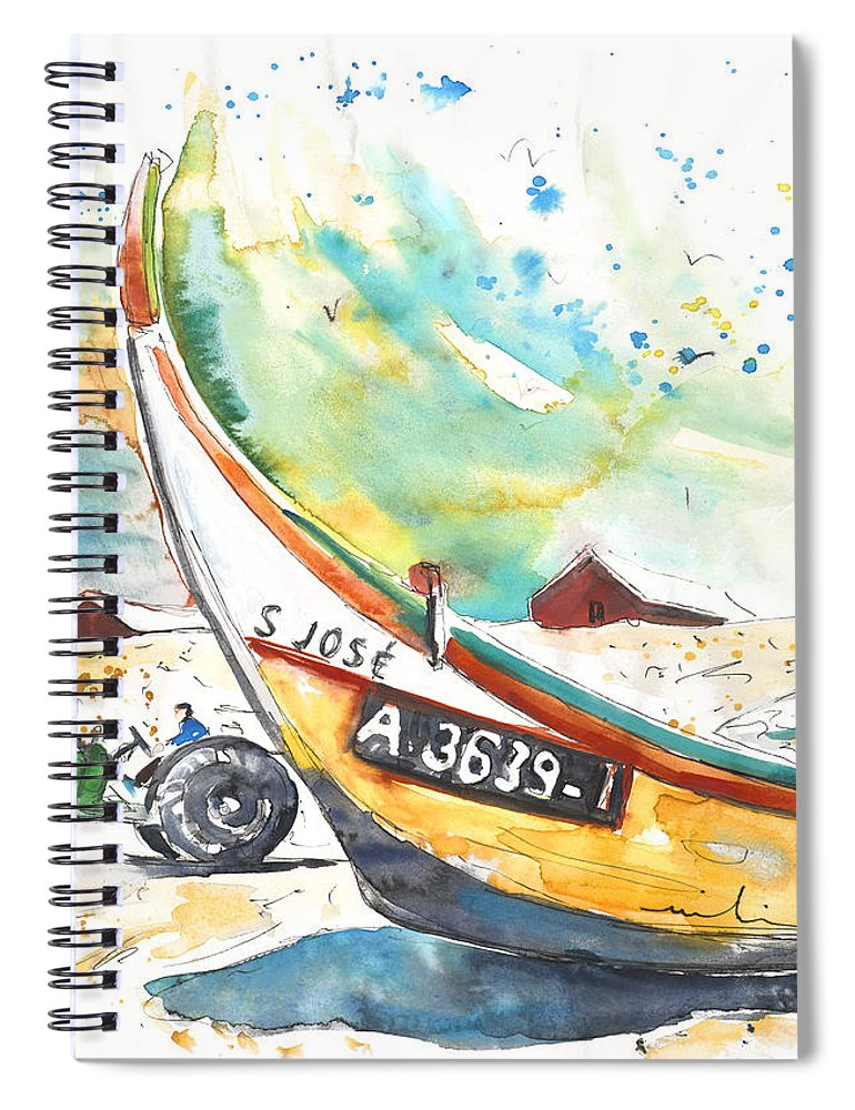 Portugal Spiral Notebook featuring the painting Fisherboat in Praia de Mira by Miki De Goodaboom