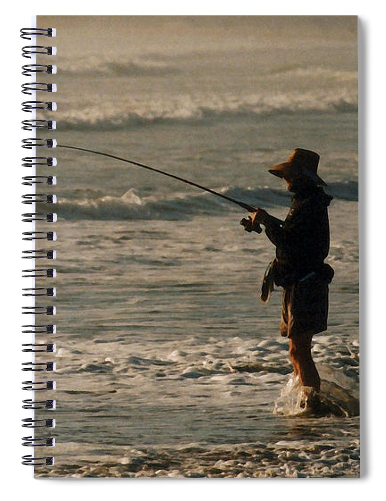 Fisherman Spiral Notebook featuring the photograph Fisherman by Steve Karol
