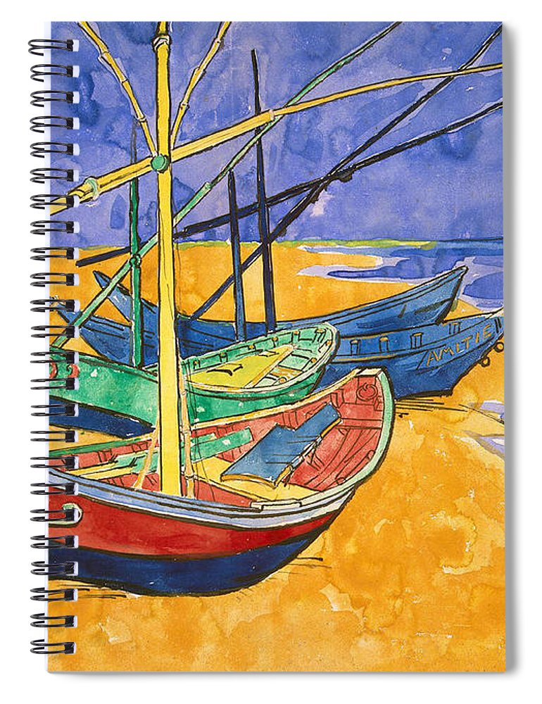Fishing Spiral Notebook featuring the painting Fishing Boats On The Beach At Saintes Maries De La Mer by Vincent Van Gogh