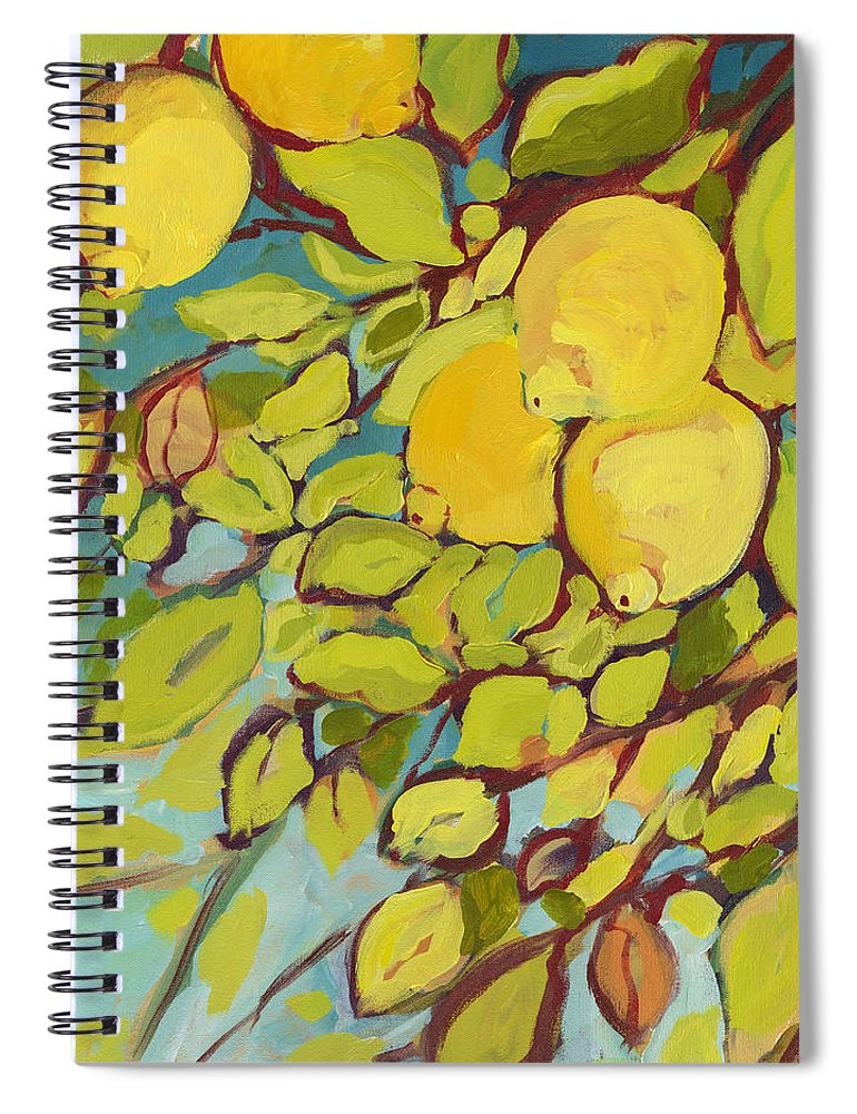 Lemon Spiral Notebook featuring the painting Five Lemons by Jennifer Lommers
